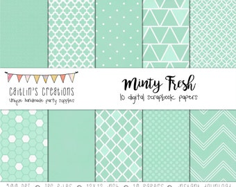 Digital Scrapbook Paper Minty Fresh - 10 Papers - 12x12 -  Dots, chevron, diamonds, triangles, circles, hexagons, hearts - INSTANT DOWNLOAD