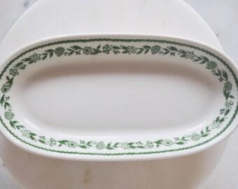 Vintage Ceramic Dish with Green Floral Details