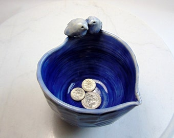 Love Bird Bowl - Blue Trinket Bowl - Food Safe - Candy Dish - Wheel Thrown Pottery - Carved Pottery - Royal Blue - Microwave Safe