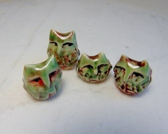 Owl Terrarium Miniature Figurines - Ceramic Owl Figurines - Olive Green and Red Owls - Pottery Owls -Shadow Box Owl -set of 4(studio choice)