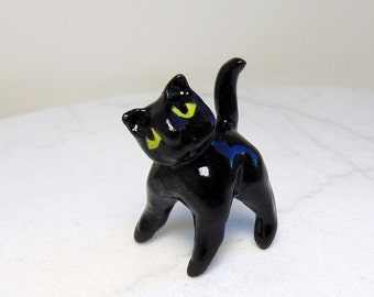 Terrarium Black Cat - Handmade Miniature Figurine - Black Cat Miniature - Terrarium Miniature - Black Ceramic Cat Figurine
