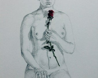 Girl with a rose, Fine art drawing, A4, Nude, Female, Red Rose, Flower, Pencil drawing, Mixed media, Pastel