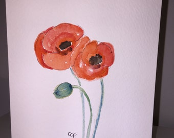 Red Poppies Watercolor Card / Hand Painted Card
