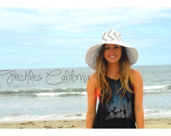Grey Sun Hat Gift for Sister Summer Wide Brim Sun Hat Cotton Hat by  Freckles California