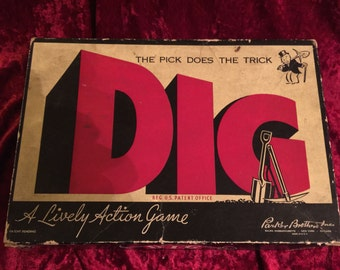 DIG, 1940s Parker Brothers Monopoly Sister Game, Cool Art Deco Graphics Vintage Board Game