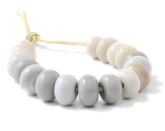 Lampwork Spacer Beads | Handmade Beads | Neutral Greys Lampwork Glass Spacer Bead Set | Artisan Glass | UK SRA