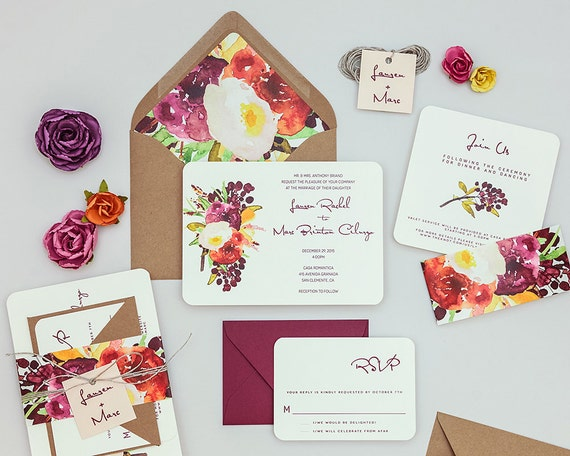Rustic Modern Floral Wedding Invitations,