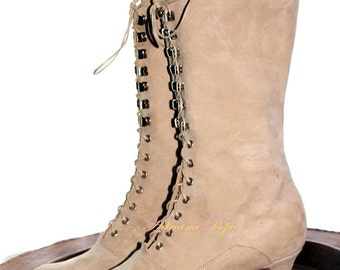 Victorian shoes Victorian Boots in light beige suede leather Lace up Ankle Boots Handcrafted boots