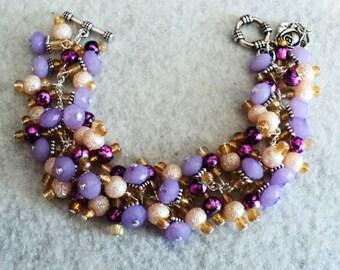 Charm Bracelet, Cha Cha Bracelet, Boho Bracelet, Bohemian Bracelet, Gypsy Bracelet, Boho Jewelry - LAVENDER AND LACE