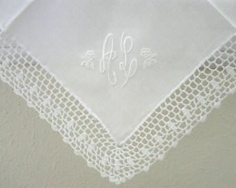 Wedding Handkerchief:  White Crochet Lace Handkerchief with 2 Intiial Monogram