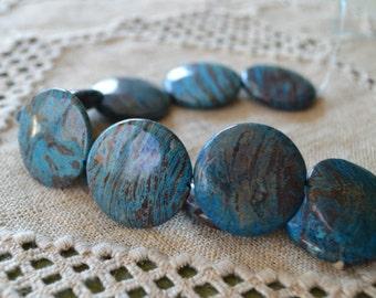 33 Blue Sky Jasper 12mm Flat Round Natural Gemstone Beads Round 16 Inches Strand