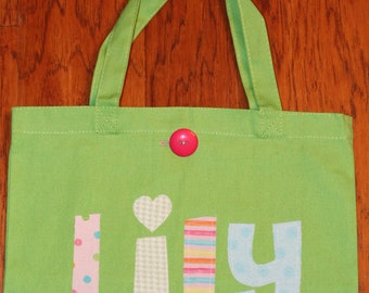 Girl's Large Personalized Tote (with button closure)-Custom Christmas gift idea birthday party bag kids childs baby shower flower girl