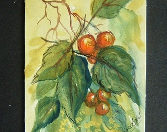 aceo art painting leaves and berries ref 303