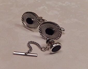 Dante Cufflinks and Tie Tack Set, Vintage Cufflinks Set, Gift for Him