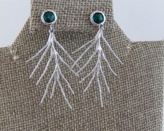 Branch Earrings, Winter Branch Earrings, Silver Earrings, Emerald Green Glass Stone, Dangly Earrings, Gift for Her