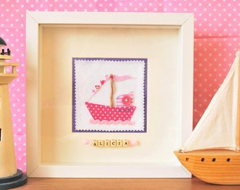 Sailing boat personalised felt art frame