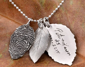 3 Rose Leaf Fingerprint & Actual Handwriting Necklace in Sterling Silver- Wedding Gifts- Mother Gifts