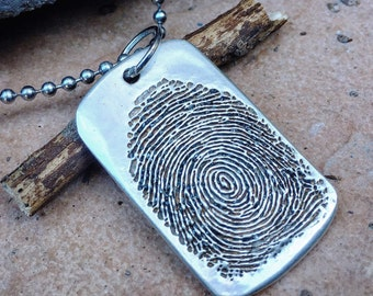 Custom Fingerprint Dog Tag, Military Dog Tag, Memorial Gift, For Him