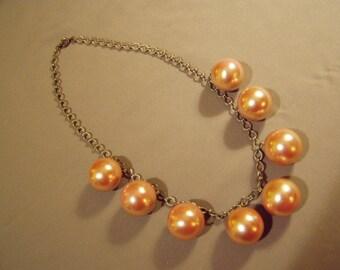 Vintage Dangly Bead Fringe Necklace Lg Faux Pink Pearls 8763