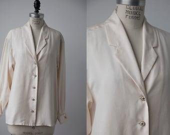 Vintage SILK Cream Button Down Blouse Shirt 80s M-L