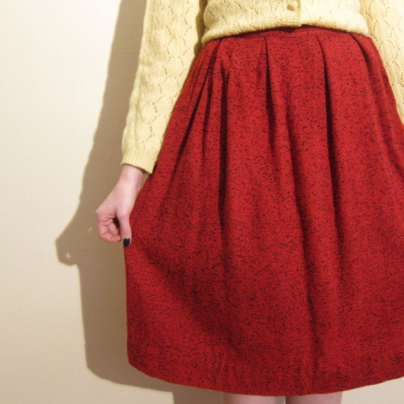 vintage 1950s skirt wool boucle 50s pleated day skirt