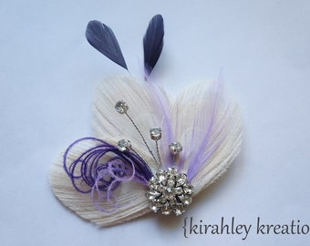 Champagne Ivory Peacock Purple Hair Clip Lavender Feathers Rhinestone Bridesmaid Bride Bridal Wedding Hairpiece MARLA Fascinator Headpiece