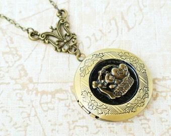 Bear Locket Necklace, Locket Necklace, Photo Locket, Picture Locket, Image Locekt, Bear Jewelry