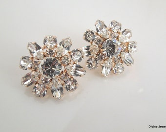 Bridal Rose Gold Stud Earrings Wedding Rhinestone Earrings swarovski crystal earrings Bridal Rhinestone Earrings Statement Earrings SAVANNAH