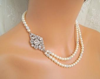 Pearl Necklace Ivory swarovski Pearl Bridal Jewelry Pearl Rhinestone Necklace Bridal Rhinestone Necklace Statement Bridal Necklace COLLEEN