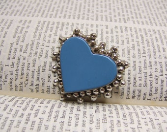Vintage Sterling Heart Pendant - 2 inches wide - Turquoise Heart - Bead Style Surround - Pin or Pendant - Marked 925 Mexico - Mexican Silver