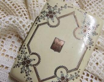 Antique Dance Card Holder - Calling Card Holder - Celluloid - Gutta Percha - Victorian - 9K Gold Inlay - Ida nameplate - Floral Motif