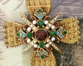 Vintage Jeweled Maltese Cross Brooch from Art-Mode