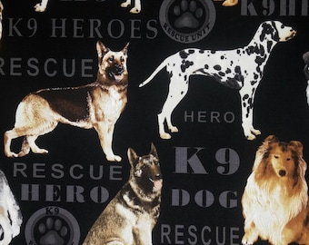 Rescue Mixed Dogs Novelty Fabric