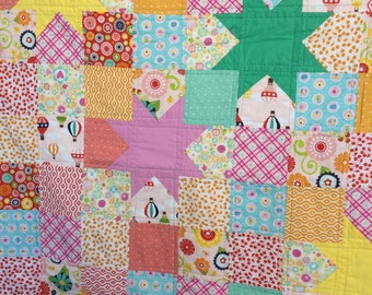 Baby Girl Quilt, Baby Girl Crib Quilt Patchwork and Stars Baby Girl Quilt by Dreamy Vintage Sheets