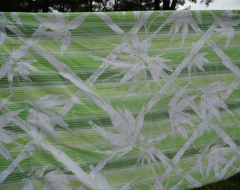 Springmaid vintage standard pillowcase 42 x 36  striped in greens and white bamboo white flowers ready for your pillow or repurpose project