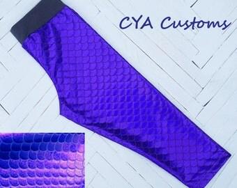 Mermaid scales capri length leggings girl size 6 purple
