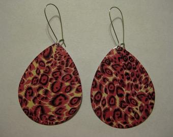 Large Hot Pink Cheetah Leopard Drop Earrings DIVA Earrings