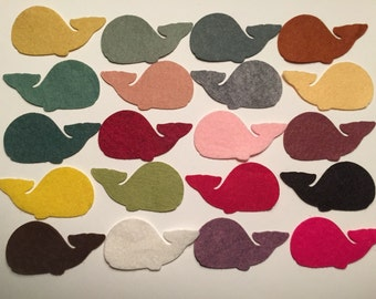 Wool Felt Whales 20 Count - Random Colored 3367