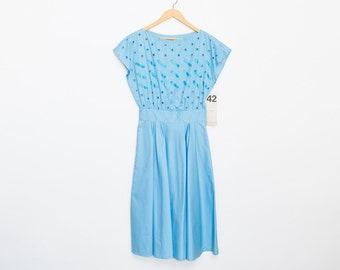 Blue dress full skirt Dead stock Vintage