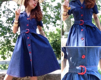 French early 1950s blue denim pin up dress