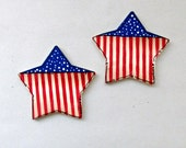 Star Shaped Magnet, Patriotic, Americana, Magnets, Hand Painted Magnets, Tole Painted Magnets, Housewares, Red, White and Blue, Set of Two