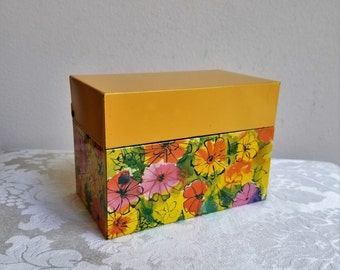 Vintage Yellow Floral Metal File Recipe Box by Ohio Art Co. USA, Colorful Mod Flowers, Holds Standard 3 x 5 Index Cards, Industrial Storage