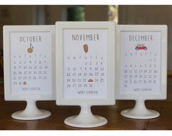 2017 Doodle Desk Calendar With Pedestal Frame