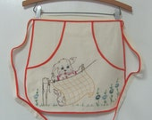 Vintage Childs Clothespin Kitchen Apron Hand Embroidered Puppy Quilt