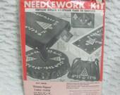 Vintage Bucilla Green Christmas Elegance Stamped Tablecloth Needlework Kit