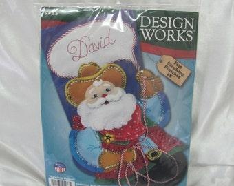 Design Works Cowboy Santa Felt Christmas Stocking Craft Kit 5233