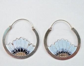 Sunflower Earrings, Flower Jewelry, Silver Hoop Earrings, Sterling Hoops, Sunflower Jewelry, Gold Overlay