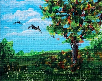 2x2 inch Acrylic Miniature Painting, Doll House Art, Landscape with Birds, Original Mini Painting, Small Format Art