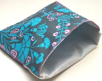 Fold over reusable lunch sack sandwich bag Large size blue and pink