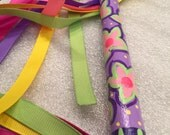 Wonderful wand ribbon dancing fun imaginative play hand painted flowers purples pinks lime green little girl's dream toy